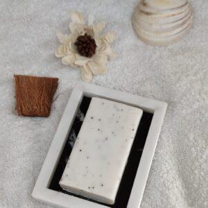 Jabonera mármol Bianco Carrara & Marquina bandeja 12x9cm