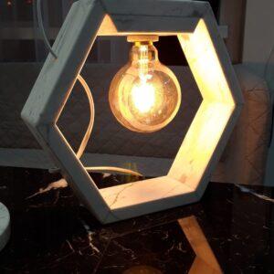 Lámpara de mármol Bianco Carrara Hexagon