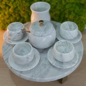 Serwis do espresso z marmuru Bianco Carrara