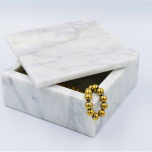 Taca, szkatułka z marmuru Bianco Carrara 15x15cm