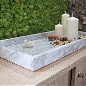 Taca z marmuru Bianco Carrara 30cm x 50cm