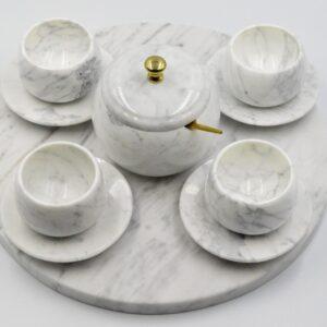 Servicio de espresso de mármol Bianco Carrara
