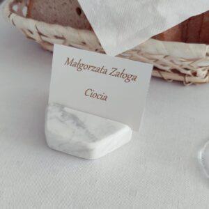 Wizytownik z marmuru Bianco Carrara
