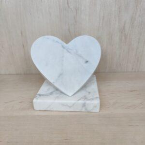 Decorative heart made of Bianco Carrara marble