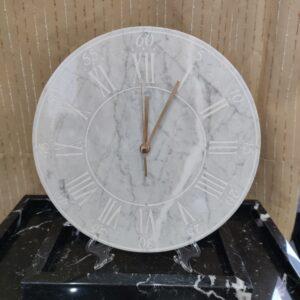 Reloj de pared de mármol Bianco Carrara, 30 cm, índice romano