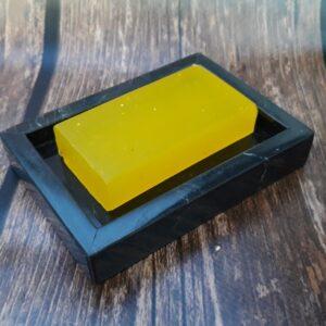 Nero Marquina marble soap dish 12x10cm tray