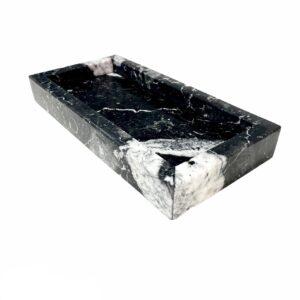 Bandeja de mármol Nero Marquina 30x15cm – Patrón 2