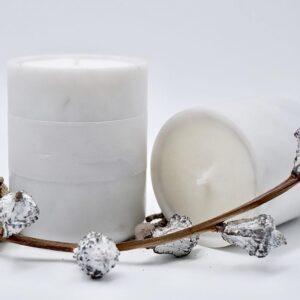 Bianco Carrara marble candlestick