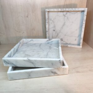 Bianco Carrara marble tray 25x25cm