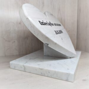 Big heart made of Bianco Carrara marble with any engraving
