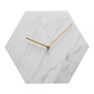 Bianco Carrara marble wall clock hexagon 30 cm