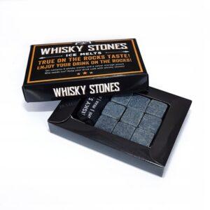 Stone drink cubes 9 pcs. dark, elegant cardboard packaging