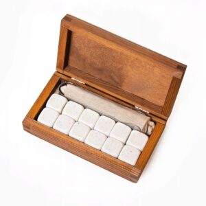 Stone drink cubes 12 pcs. white, elegant wooden packaging