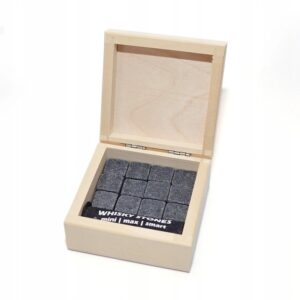 Stone drink cubes 12 pcs. elegant wooden packaging