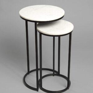 Carrara Consola Round 40 marble table set