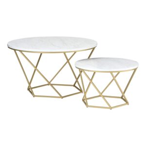 Carrara Diamond Round marble table set