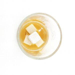 Cubitos de bebida de piedra 9 uds. embalaje de cartón blanco y elegante