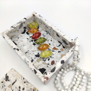 Szkatułka pudełko taca z kamienia Terrazzo Retro 18x11cm