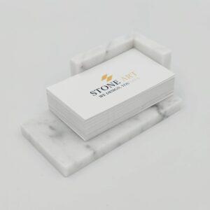 Wizytownik z marmuru Bianco Carrara 12cm x 7cm