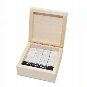 Cubitos de bebida de piedra 12 uds. białe, eleganckie drewniane opakowanie