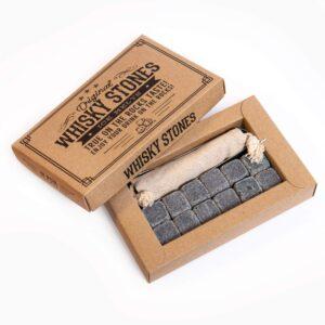 Stone drink cubes 12 pcs. dark, elegant cardboard packaging