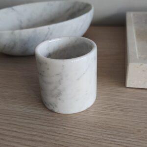 Taza, recipiente de mármol Bianco Carrara
