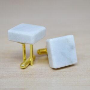 Spinki do mankietów z marmuru Bianco Carrara