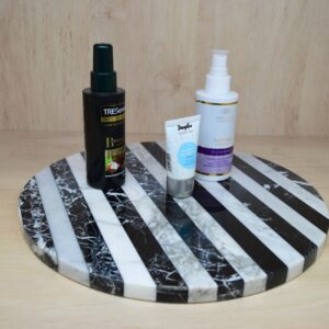 Serving tray, decorative plate black and white marble 32 cm