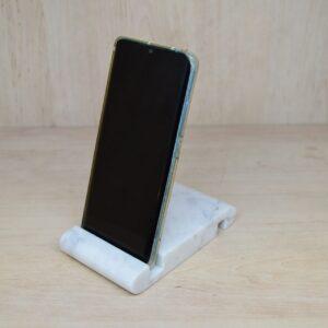 Soporte para teléfono de mármol Bianco Carrara