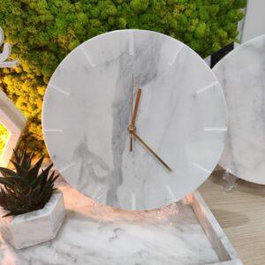 Reloj de pared de mármol Bianco Carrara, 30 cm, índice de líneas crudas