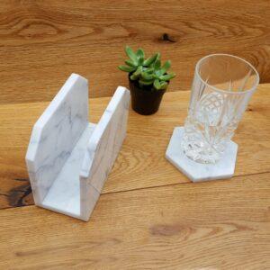Angielski Bianco Carrara marble napkin holder