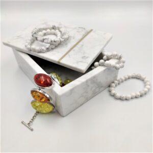 Szkatułka, pudełko, taca z marmuru Bianco Carrara 18x11cm