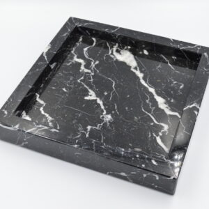 Nero Marquina Marble Tray 25x25cm – Pattern 4