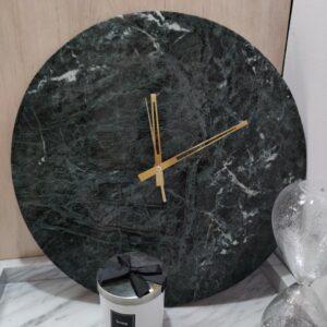 Reloj de pared de mármol Verde Guatemala, 40 cm.