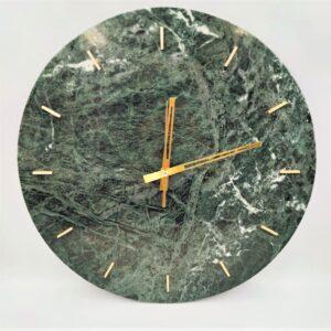 Zegar ścienny z marmuru Werde Gwatemala 40cm indeks mosiężny kreskowy