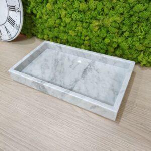 Bandeja de mármol Bianco Carrara 35x20cm