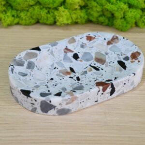 Mydelniczka z kamienia Terrazzo 15cm x 9cm