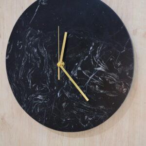 Zegar ścienny z marmuru Nero Marquina antykowany