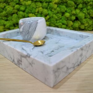 Taca z marmuru Bianco Carrara 15cm x 25cm