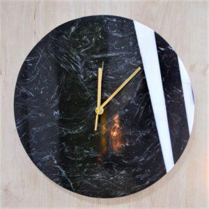 Zegar ścienny z marmuru Nero Marquina & Bianco Carrara