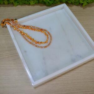 Bianco Carrara marble tray 26x26cm design 2