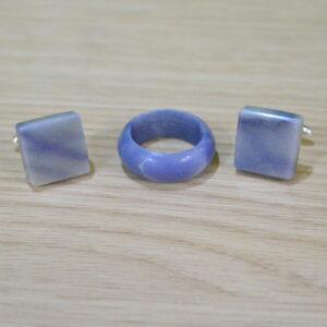 Spinki do mankietów z kwarcytu Azul Macaubas