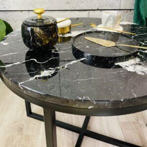 Stolik kawowy z blatem marmurowym Nero Marquina śr. 60cm