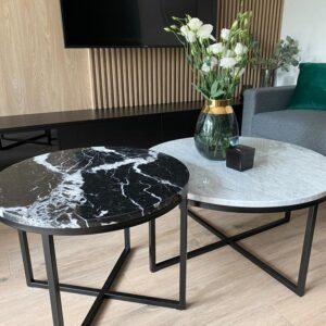 Komplet stolików marmurowych Bianco Carrara i Nero Marquina