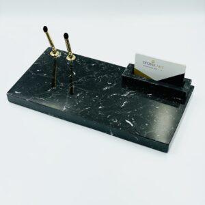 Organizer biurowy z marmuru Nero Marquina 30cm x 15cm