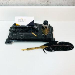 Organizer biurowy, kałamarz z marmuru Nero Marquina 20cm x 10cm