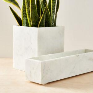 Donica z marmuru Bianco Carrara 14cm x 55cm