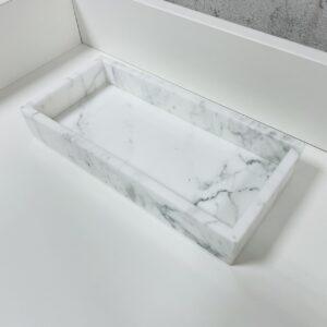 Taca z marmuru Bianco Carrara 12cm x 25cm