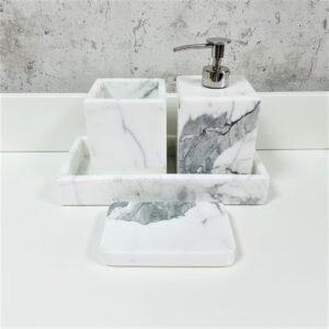 Komplet akcesoriów łazienkowych z marmuru Bianco Carrara