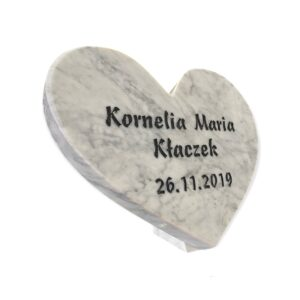 Serce duże z marmuru Bianco Carrara z dowolnym grawerem